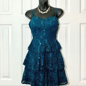 NEW Teal sequin dress w spaghetti straps, size 3/4